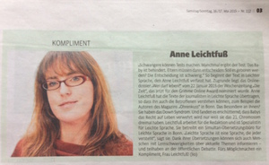 Kompliment - Pressebericht zur Grimme Nominierung